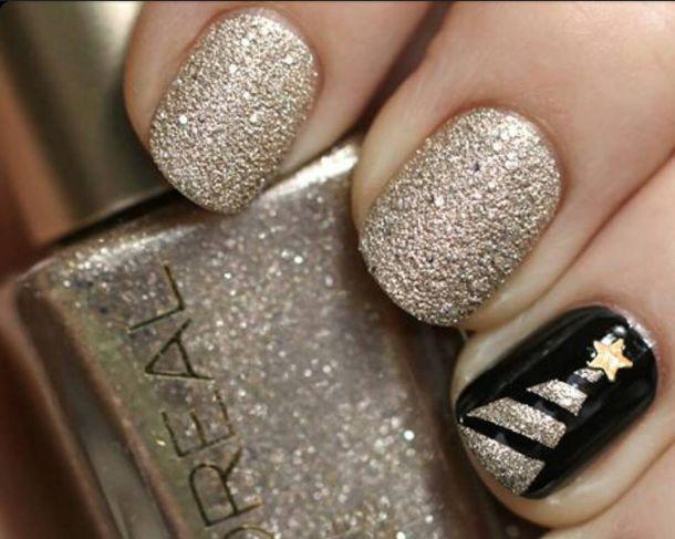 nail art Natale oro