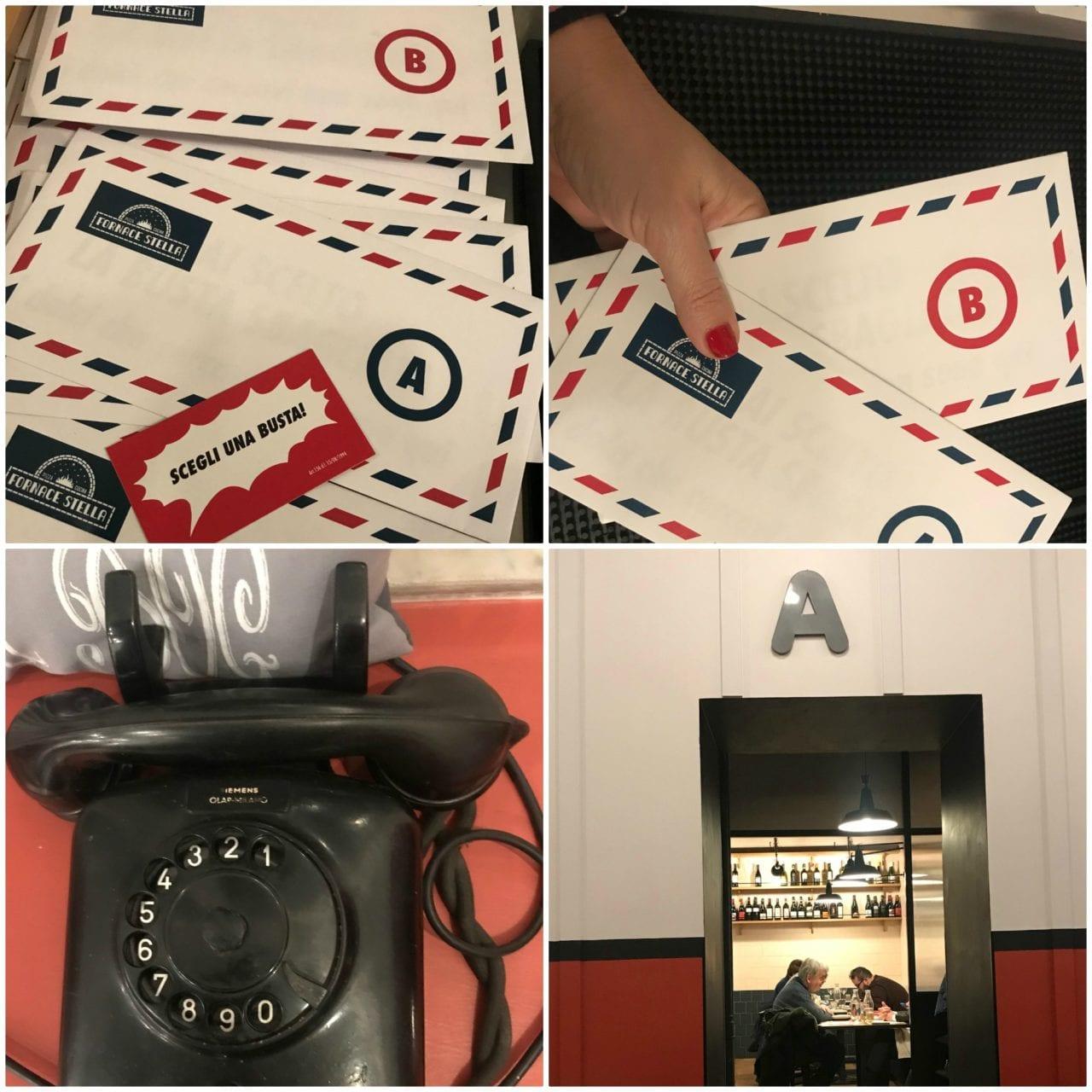 Il gioco delle buste per la scelta del dolce, il telefono nero e la sala interna