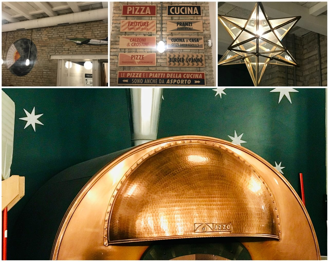 Il forno di rame e marmo e il lampadario a stella della prima sala